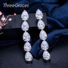 Trois grâces élégantes boucles doreilles de mariage de mariée belle grappe Peardrop femmes longue boucle doreille pendante avec pierre de cristal CZ ER150