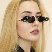 New Small Narrow Sunglass Streetwear 2020 Women Fire Flame Sunglasses Vintage Rimless Ladies Sun Glasses Shades Luxury Eyewear
