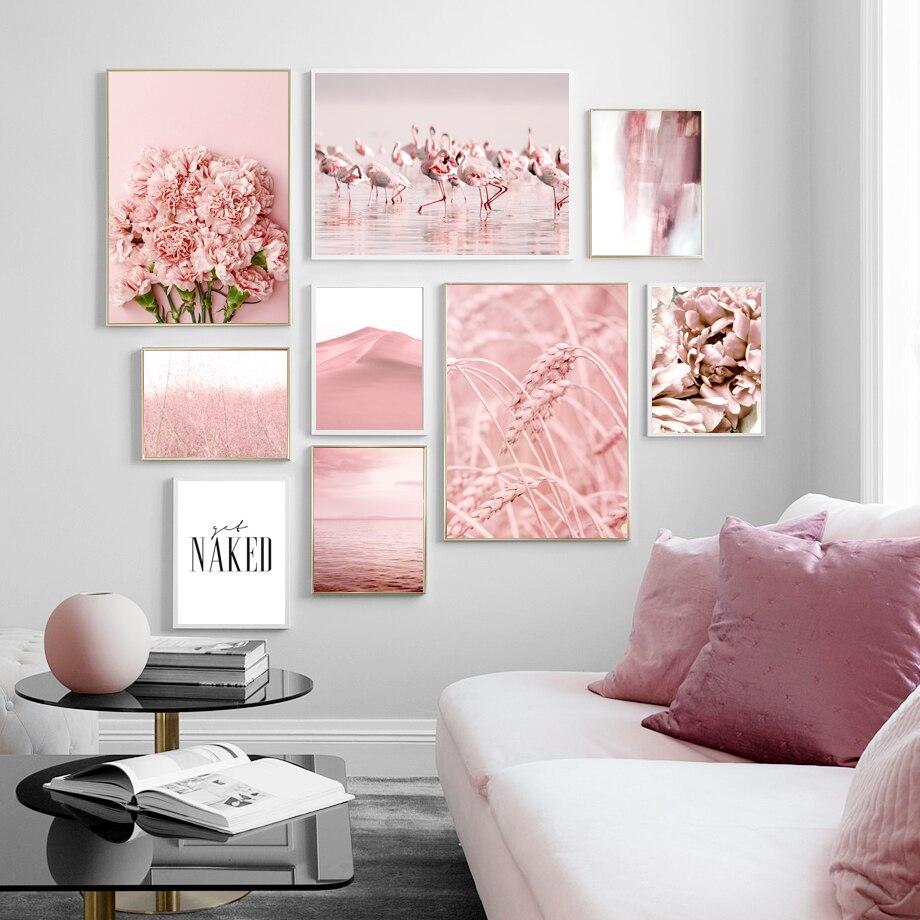 Mar rosa, flor grande, flamenco, oreja de trigo, cuadro sobre lienzo para pared, carteles nórdicos e impresiones, imágenes de pared para decoración para sala de estar