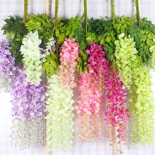 12 Pcs/Lot Wedding Decor Artificial Silk Wisteria Flower Vines Hanging Rattan Bride Flowers Garland
