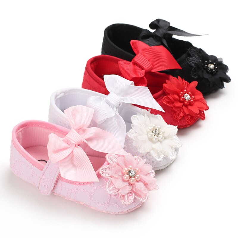 2021 Baby Girl Shoes Newborn First Walker Princess Girls Shoes Floral Toddler Prewalker Sofe For New