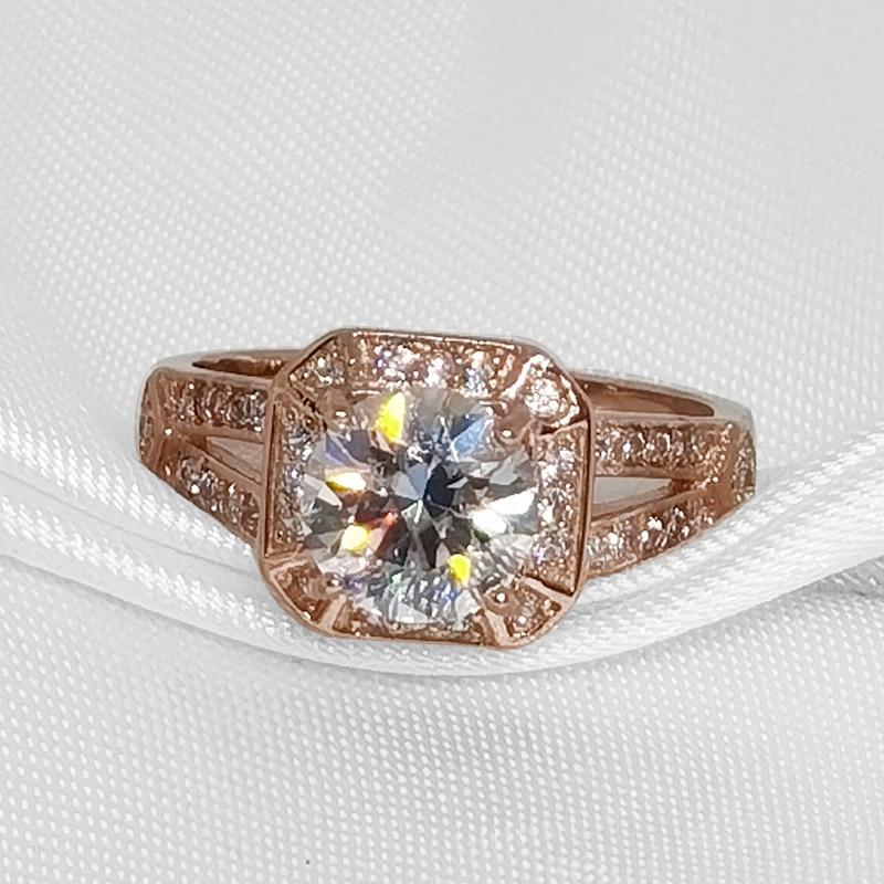 [MeiBaPJ مويسانيتي موضة 1.5 قيراط خاتم الماس VVS1 925 فضة 18K مطلية بالذهب غرامة مجوهرات الزفاف للنساء