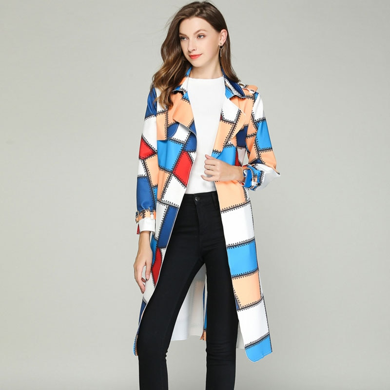 WYWAN 2020 خريف جديد للأزياء الراقية العلامة التجارية امرأة الكلاسيكية مزدوجة الصدر خندق معطف مقاوم للماء معطف واق من المطر الأعمال ملابس خارجية