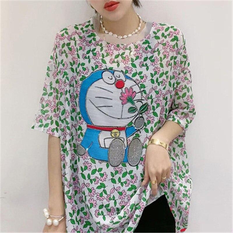 Large size 21 summer round neck casual bottoming short-sleeved Korean loose letter printing hot diamond satin silk T-shirt women