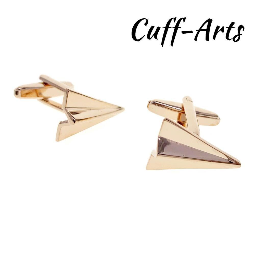 Abotoaduras para Os Homens em Ouro Rosa Abotoaduras de Avião De Papel Presentes para Homens Gemelos Gemelli Spinki por Cuffarts C10457