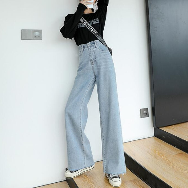 Woman Jeans High Waist Clothes Wide Leg Denim Clothing Blue Streetwear Vintage Quality 2020 Fall