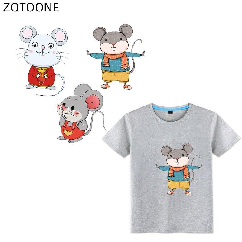 ZOTOONE parche de hierro en animales, lindos parches de ratón para adhesivo para ropa para niños, aplicaciones de transferencia de calor, apliques de vinilo DIY G