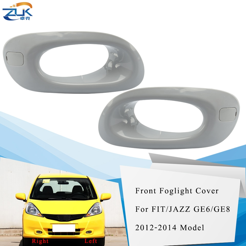 ZUK Front Bumper Fog Light Fog Lamp Cover For HONDA FIT JAZZ 2012 2013 2014 GE6 GE8 Foglight Foglamp Hood Garnish None Painted