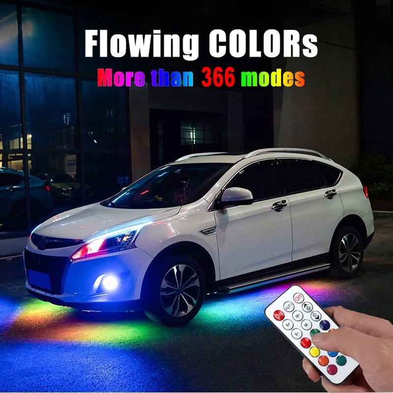 RGB LED banda música Control remoto Streamer que fluye bajo el tubo del coche Underglow sistema de luz de neón