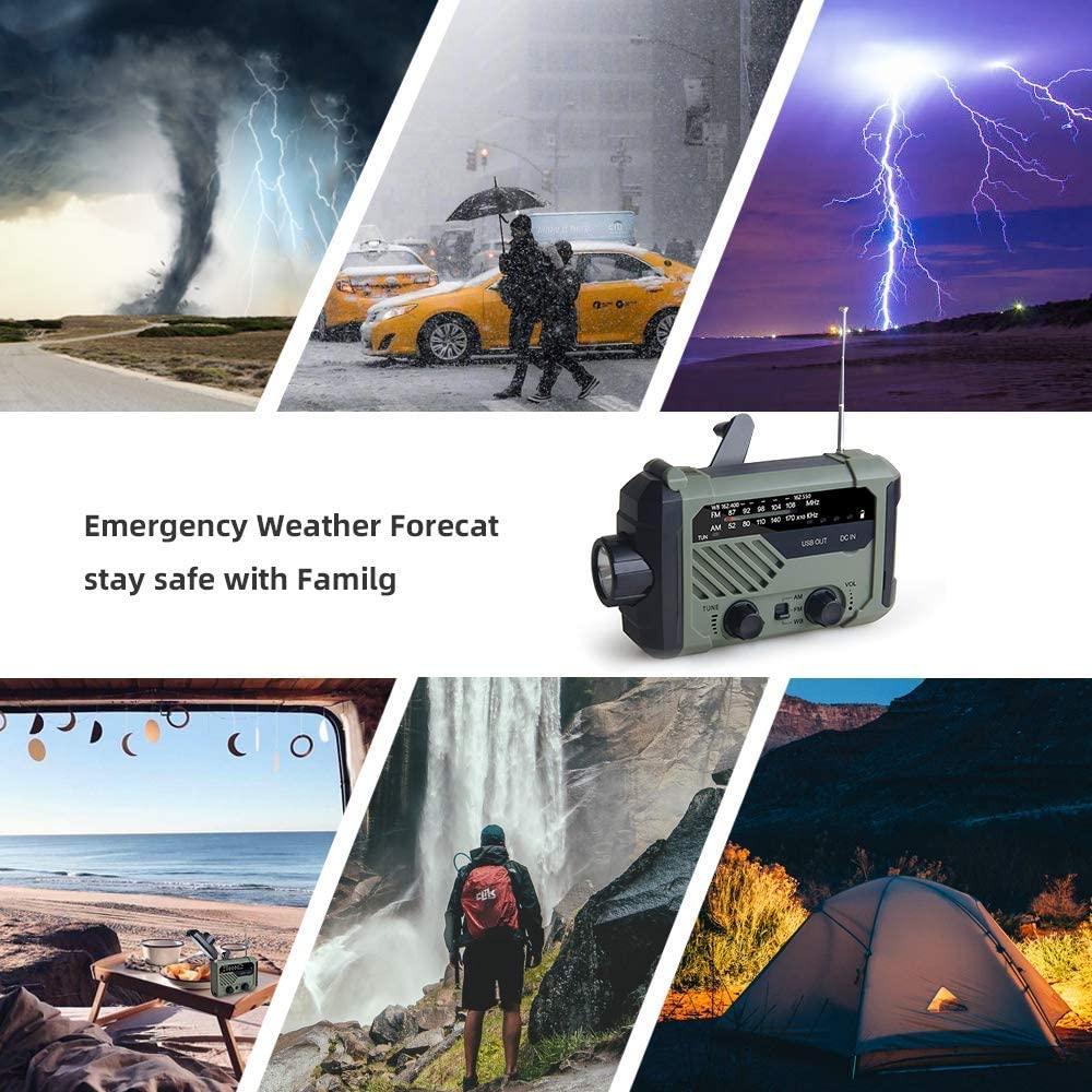 Emergency Radio 2000mAh-Solar Hand Crank Portable AM/FM/NOAA Weather Radio with Flashlight&Reading Lamp Cell Phone Charger enlarge