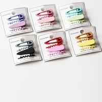 4 pcsset candy color wave hairpin girl cute hair clips headdress sweet color headwear fashion hair accessories styling tools