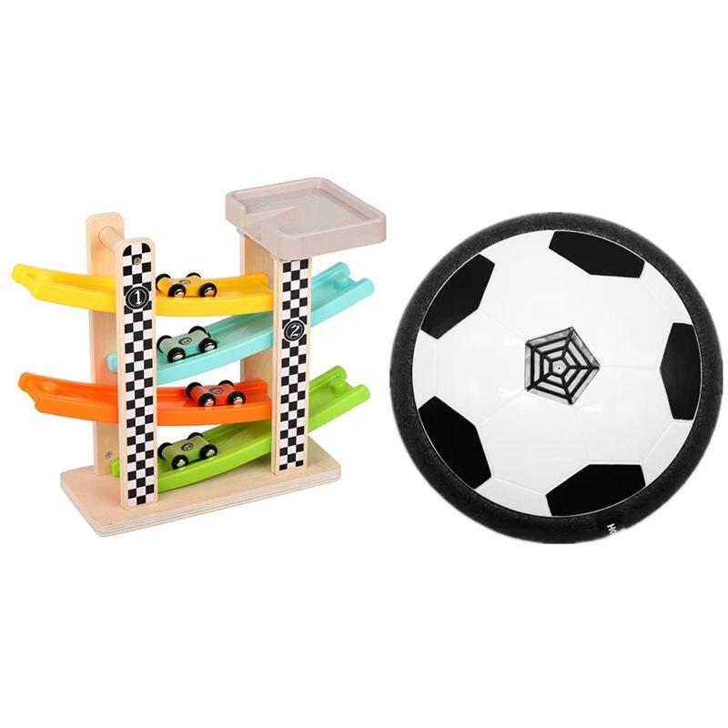 Juguete de fútbol LED flotante, Airpower, disco de fútbol y regalos para niños y niñas, pista de carreras de madera, rampa para coches con 4 Mini coches