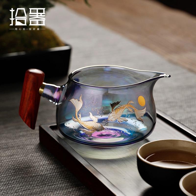 Conjunto de Bule de Alta Fabricante de Chá Resistente ao Calor Mar de Chá Vidro Mágico Copo Justo Madeira Qualidade Filtro Público Engrossado