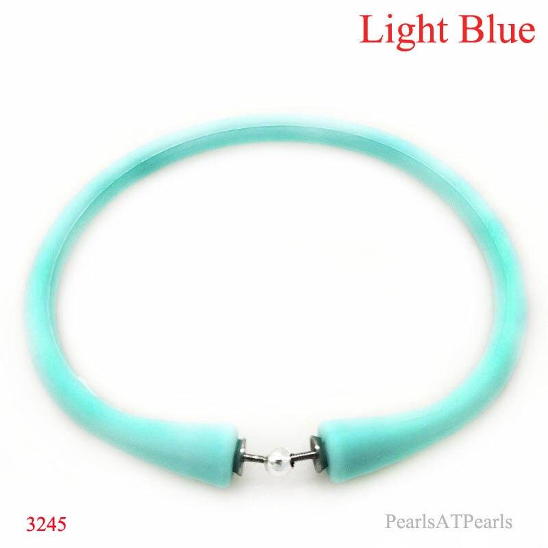 Atacado 7.5 polegadas/180mm luz azul borracha silicone banda para personalizado pulseira