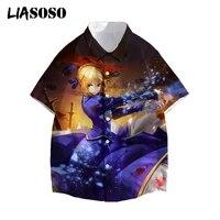 liasoso 3d print shirt fate stay night 2021 hawaii japan anime game cartoon men saber short sleeve harajuku streetwear tops
