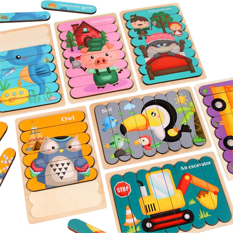 Kids Animal 3D Wooden Puzzle Montessori Toy Double-sided Strip Puzzle Telling Story Stacking Jigsaw Educational Toy For Children