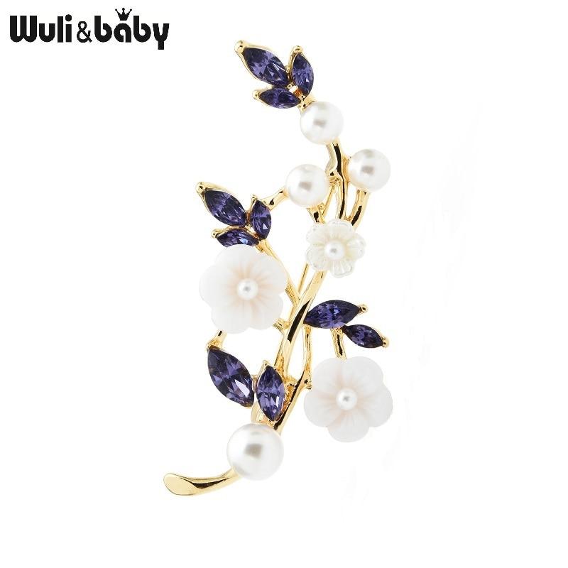 Wuli & bebê roxo strass branco flor broches para as mulheres acrílico flor de ameixa flor casual escritório broche presentes