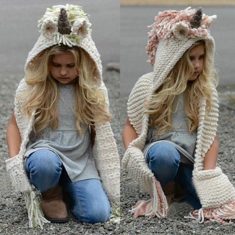Unicornio con capucha bufanda Animal capucha Crochet tejido gorro niños adultos