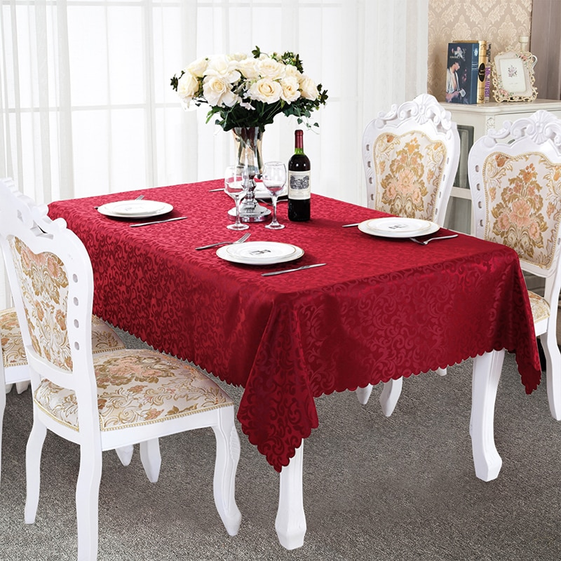 Luxury Dining Table Protective Cover Eco-Friendly Rectangle Jacquard Tablecloth Fabric For Wedding Restaurant Recycled Modern