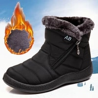 women snow boots waterproof winter boots warm shoes female casual lightweight ankle botas plush lining zipper closed big size