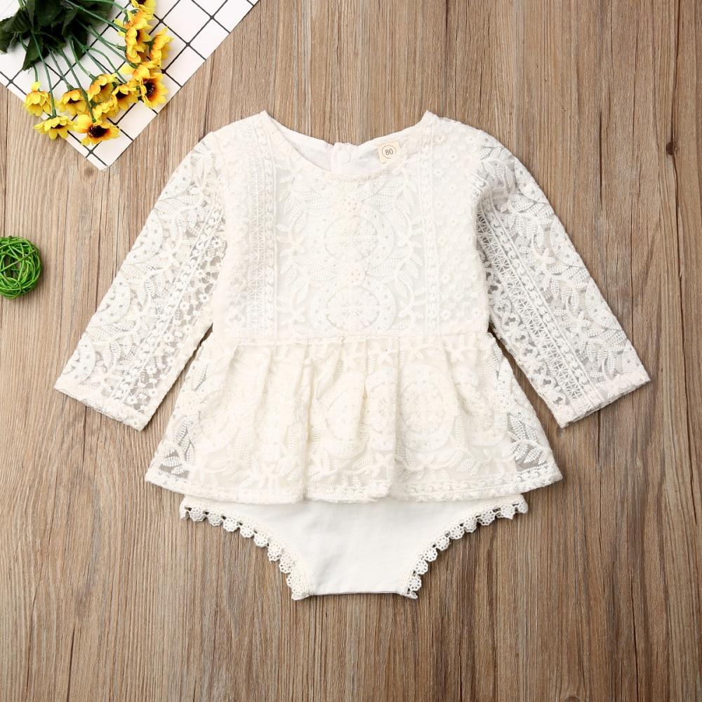 Baby Girls Bodysuits Long Sleeve Autumn Clothing Flower Lace Romper Princess Girl Tutu Romper Dress Newborn Girls Outfits 0-24M