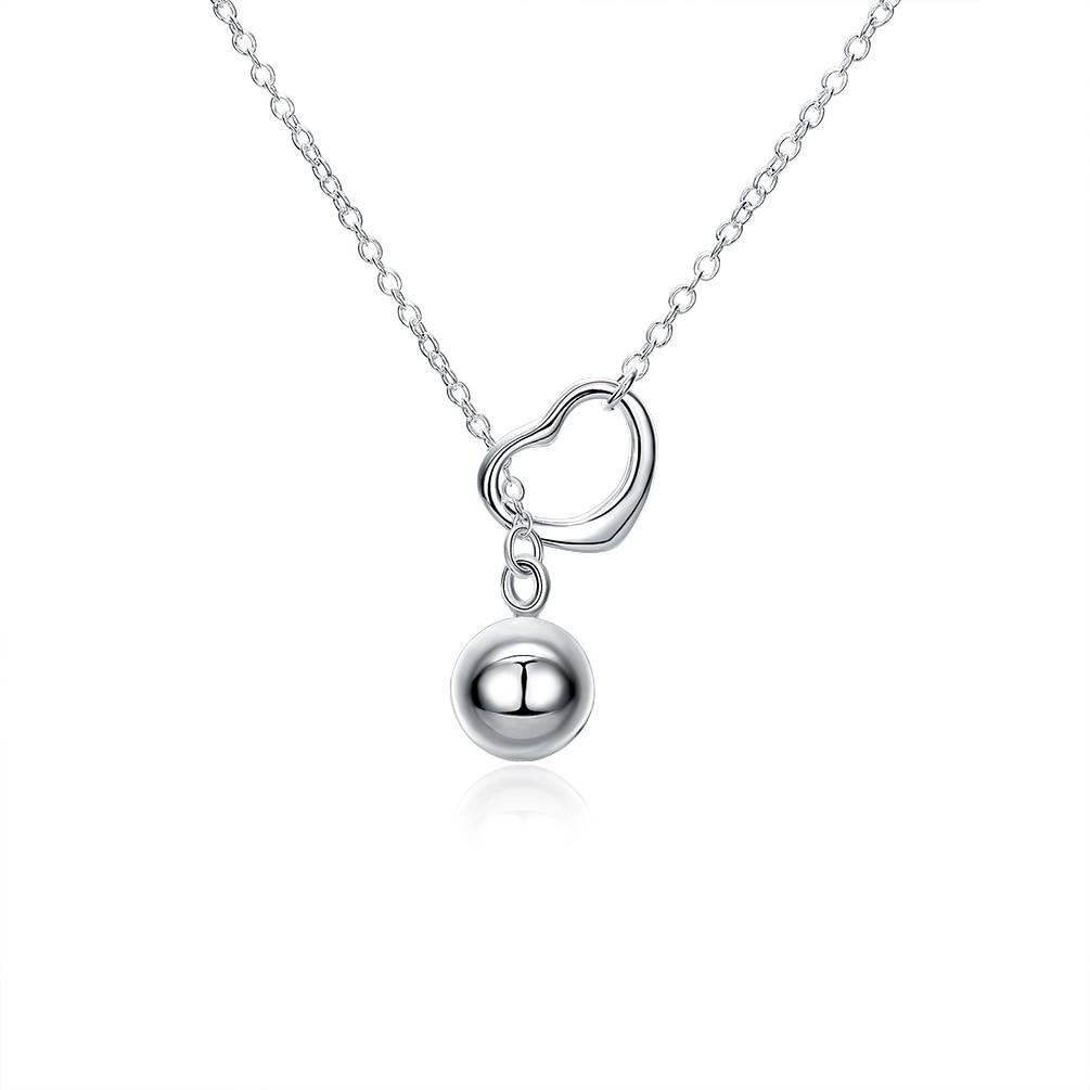 ZEMIOR Heart Drop Ball Romantic Unisex Pendant Necklaces For Women And Men Simple White Necklace Wed