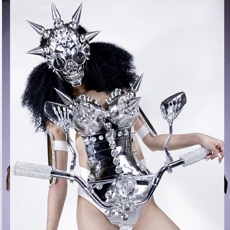 Disfraz de danza espacial future technology, GOGO para discoteca, mujer, DS, espejo dorado, luz LED, armadura de metal con pinchos, chica de rendimiento