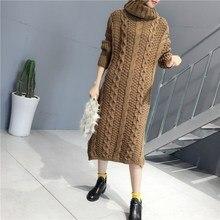 2020 nouvelles femmes coréennes hiver chaud épaississement longs chandails tricotés col roulé mince pull robes pull Sueter Mujer S377