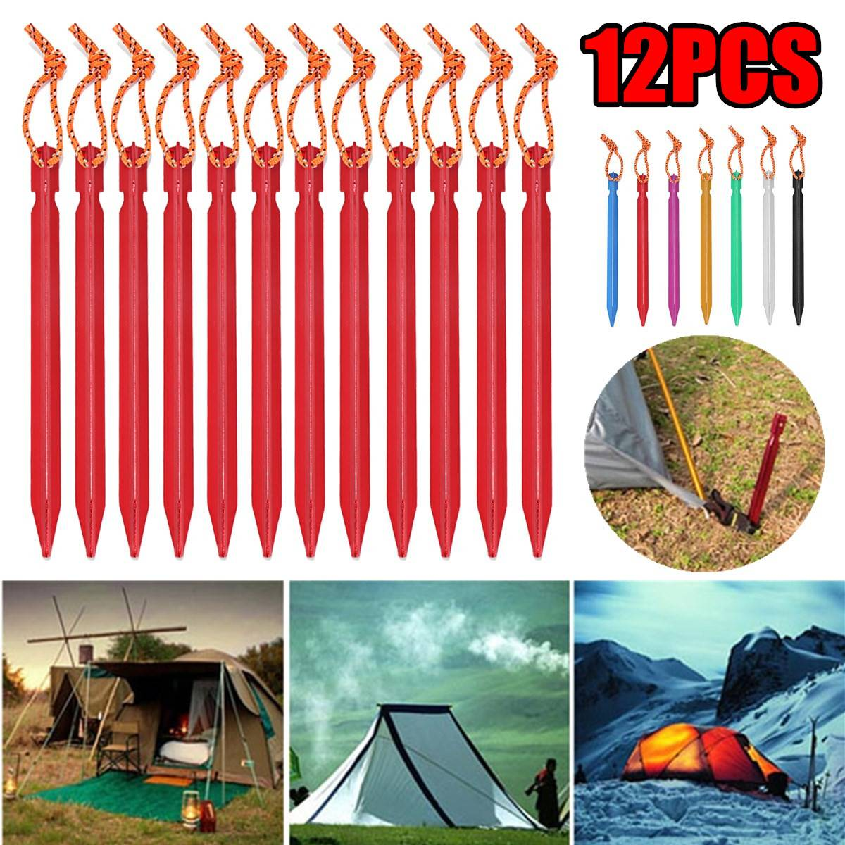 12PCS 18CM Tent Pegs Nail Aluminium Alloy Tent Stakes With Rope Camping Accessories Equipment Outdoor Travel Beach Tent Building