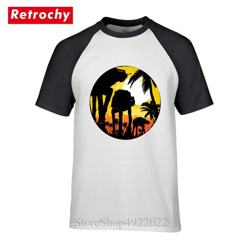 Tropical Style At-Attack AT-AT T Shirt Retro Star Wars Robot T-shirt Cool Sunset Palm Trees Tshirt Alien Darth Vader Men Clothes