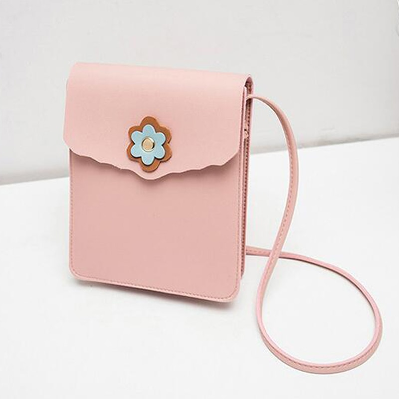 Versatile PU Leather Mobile Phone Bags for Women 2019 Fashion Wallet Neck ShoulderBag Swaying Bag Handbag Fower Summer Bags
