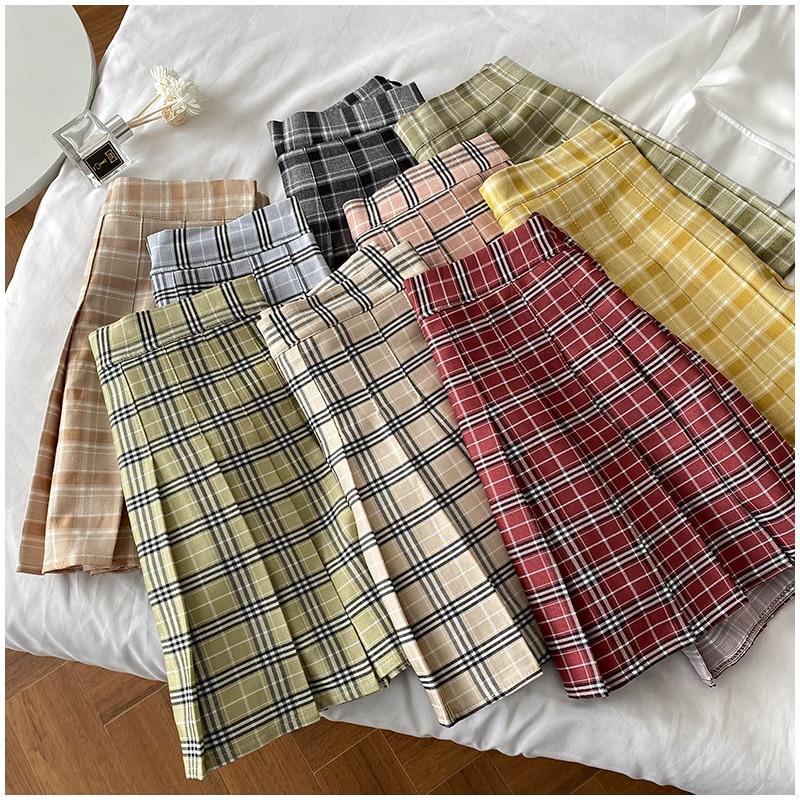 Excellent Texture/Keep up with the Summer Rhythm! Thin and Stylish Check Pattren All-Match High Wais