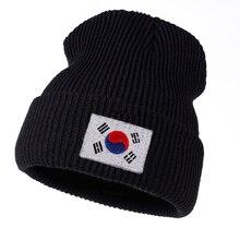 Chapeau en laine tricoté pour femmes   Chapeau dhiver de haute qualité pour hommes et femmes, chapeau chaud en coton pour épissure drapeau coréen, casquette hip hop