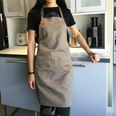 US STOCK Denim Canvas Pockets Apron Butcher Crafts Baking Chefs Kitchen Cooking BBQ Plain