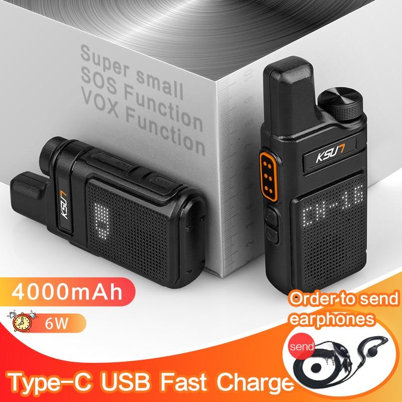 KSUN-Mini walkie-talkie X-M6, Radio bidireccional, UHF, PMR 446, estación transceptor de Radio portátil Profesional, intercomunicador, antena interna