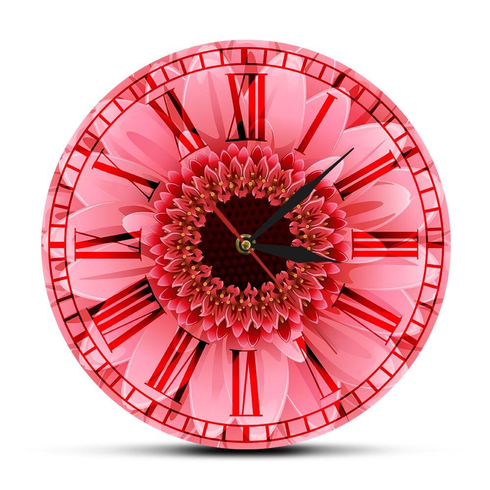 Reloj de pared Gerbera Rosa Retro romano con números Rosa Gerbera Margarita acuarela decoración de pared Floral movimiento silencioso Reloj de pared