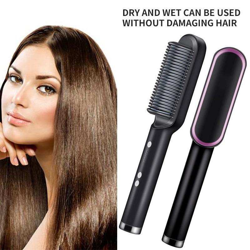 Multifunctional Professional Hair straightener Tourmaline Ceramic Hair Curler Brush Hair Fast Heating Hair Waver Styling Tools