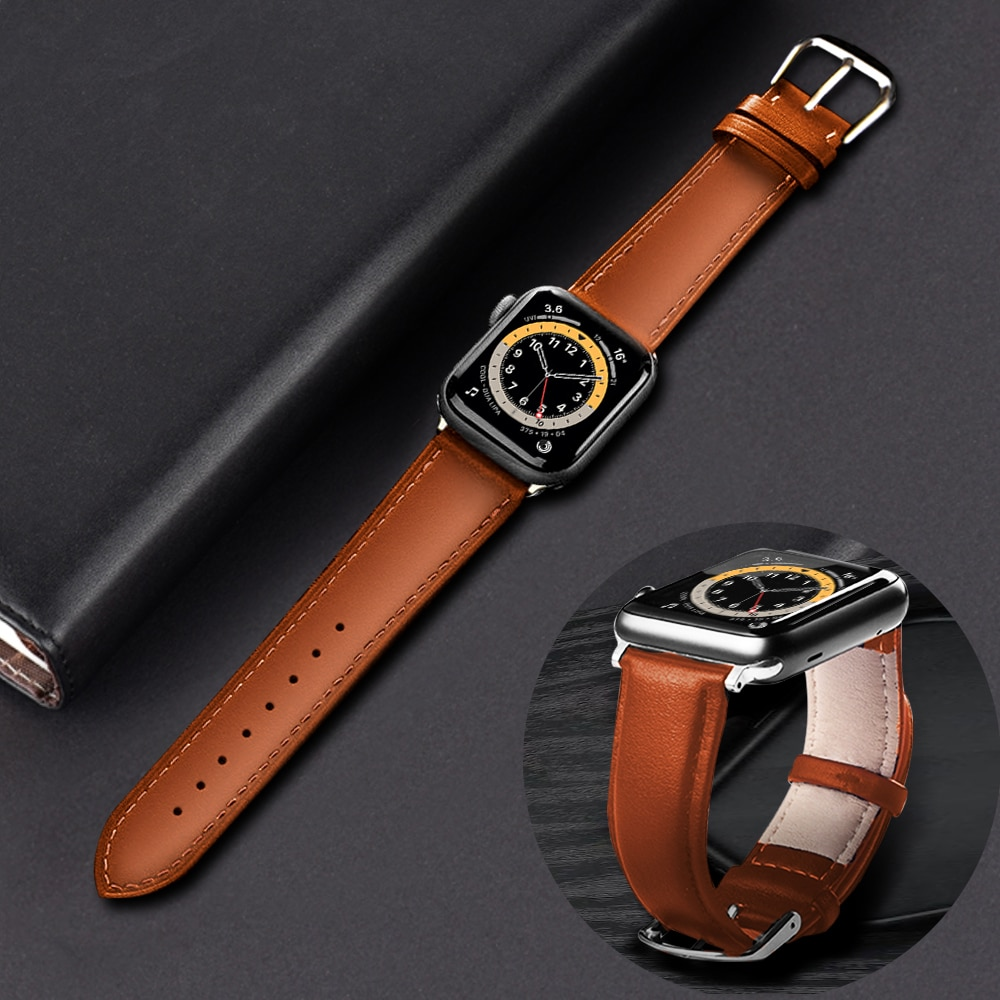 leather loop strap for apple watch 5 band 44mm 40mm iwatch band 42mm 38mm bracelet genuine leather watchband series 6 5 4 3 2 se Brown Leather Band Loop Strap For Apple Watch 6 SE 5 4 3 2 1 38mm 40mm , Men Leather Watch Band for iwatch 5 44mm 42mm Bracelet