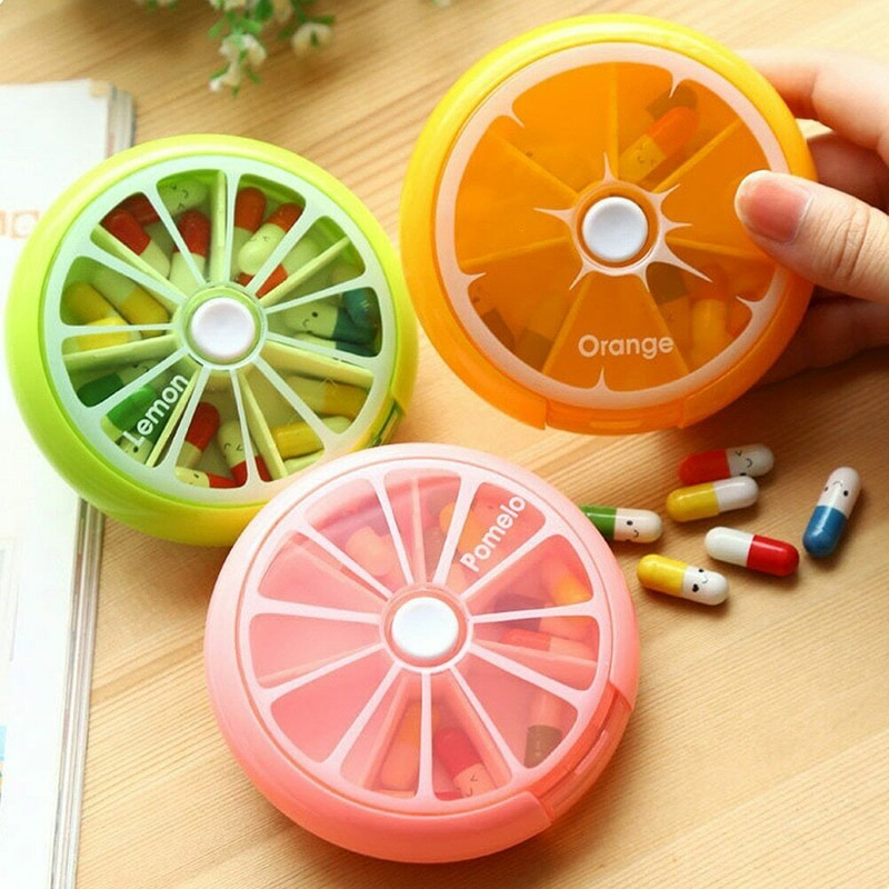 Weekly Rotating Pill Box Case Splitter Tablet Storage Organizer Medicine 7 Day Pill Container For Tr