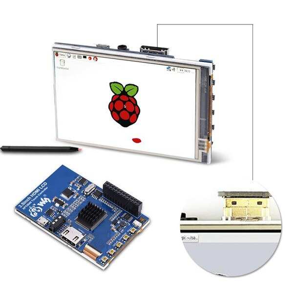 Waveshare 1080P ips 60Fps 3,5 дюймов HDMI ЖК-экран дисплей с Чехол HDMI разъем для Raspberry Pi
