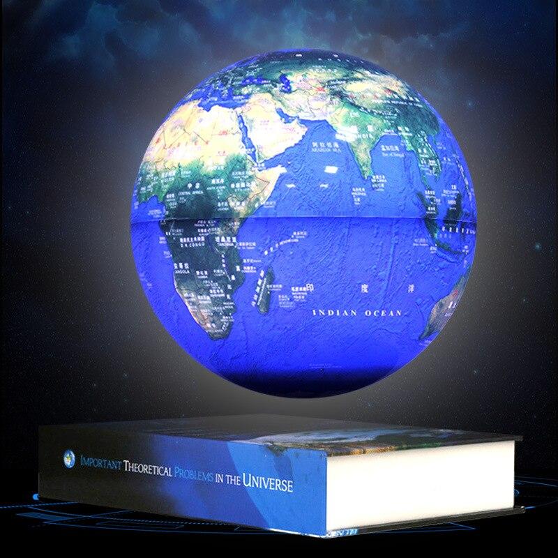 New Design 8 Inch Book Shape Magnetic Levitating Floating Luminous Earth Globe World Map School Use Christmas Gift Office Decor