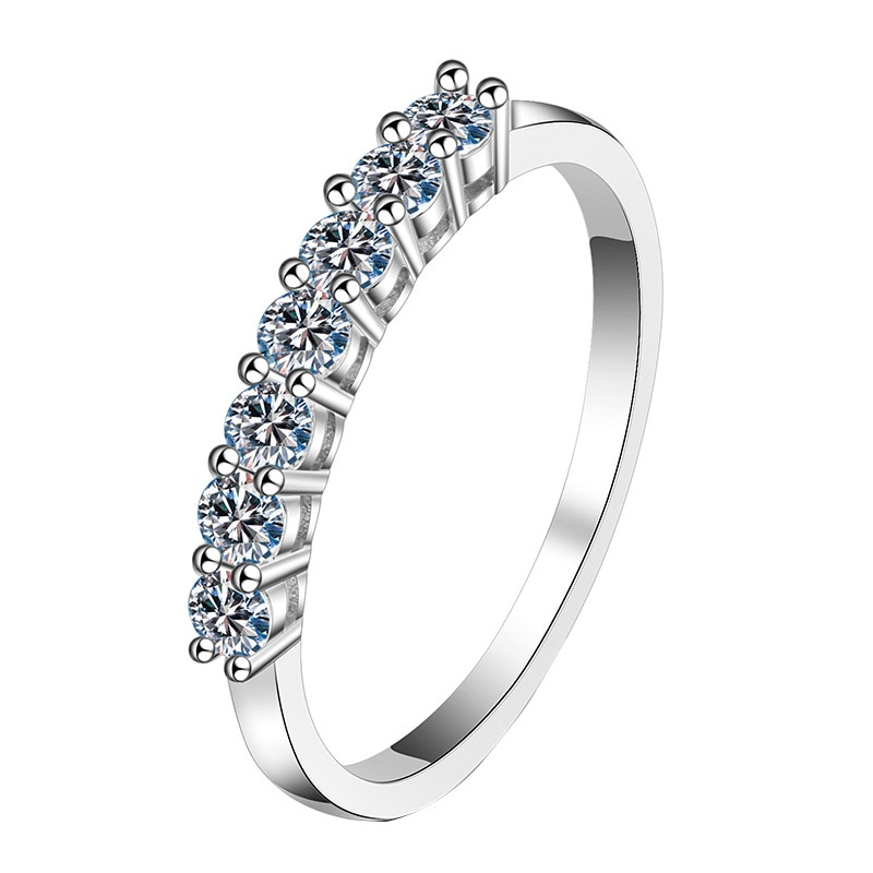 BOEYCJR 925 Silver D color 3mm 0.1ct Moissanite VVS1 Simple Design Wedding Ring With national certificate for Women Gift