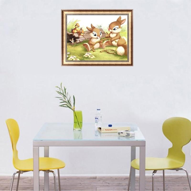 Rabbits DIY 5D Diamond Painting Embroidery Animal Cross Stitch Home Office Decor Y1QB