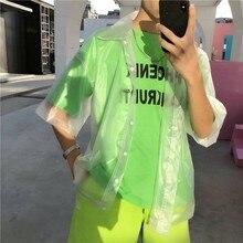 Hip hop claro pvc chic camisas blusa mujeres plástico transparente camisa de manga corta impermeable chaqueta de moda marea ver a través