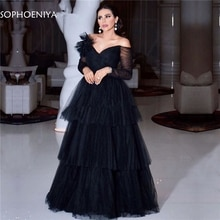 Black Muslim Evening Dresses A-line V-neck Long Sleeves Tulle robe soiree Dubai Saudi Arabic Long Ev