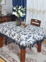 oval tablecloth fabric chinese style oval long nostalgic antique half round blended dustproof tablecloth customization