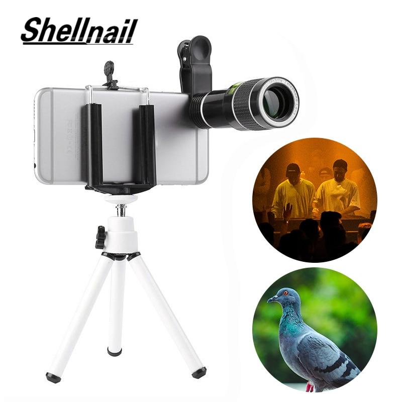 SHELLNAIL 20X Zoom Monokulare Teleskop Objektiv Handy Clip Stativ Für iPhone 11 Smartphone Kamera Objektiv Telefon Zubehör