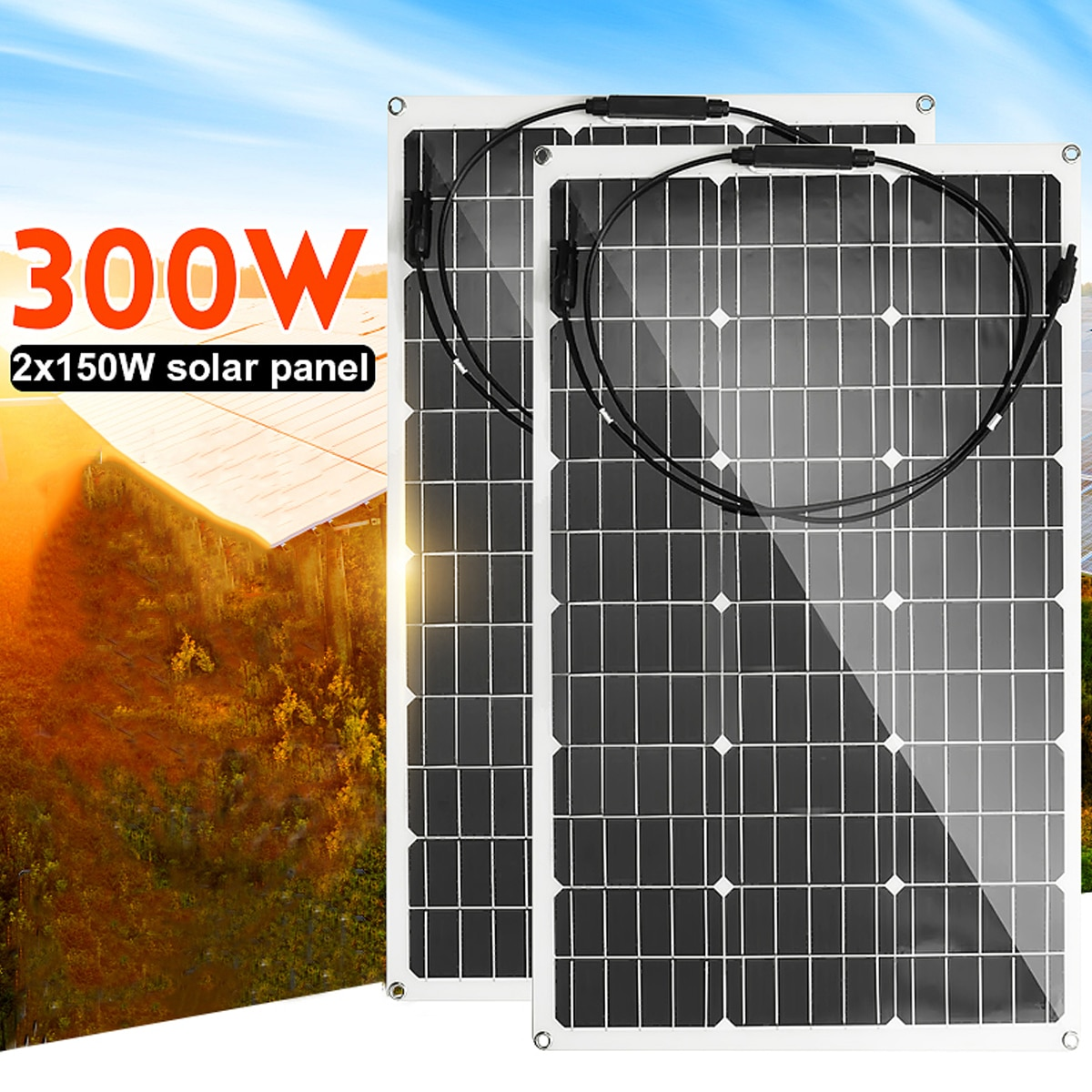 300W/150W, Panel Solar 18V, semiflexible monocristalina celda Solar, Cable DIY, conector para exteriores, cargador de batería
