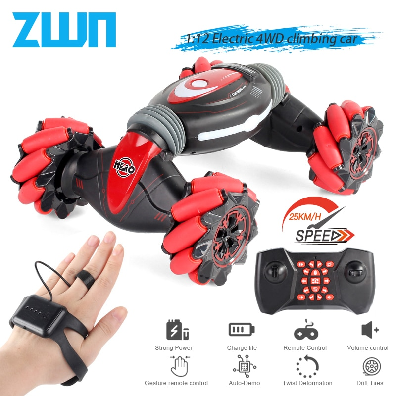 ZWN C1/ C1 MINI 4WD RC CAR Radio Gesture Induction 2.4G Toy Light Music Drift Dancing Twist Stunt Remote Control Car for Kids