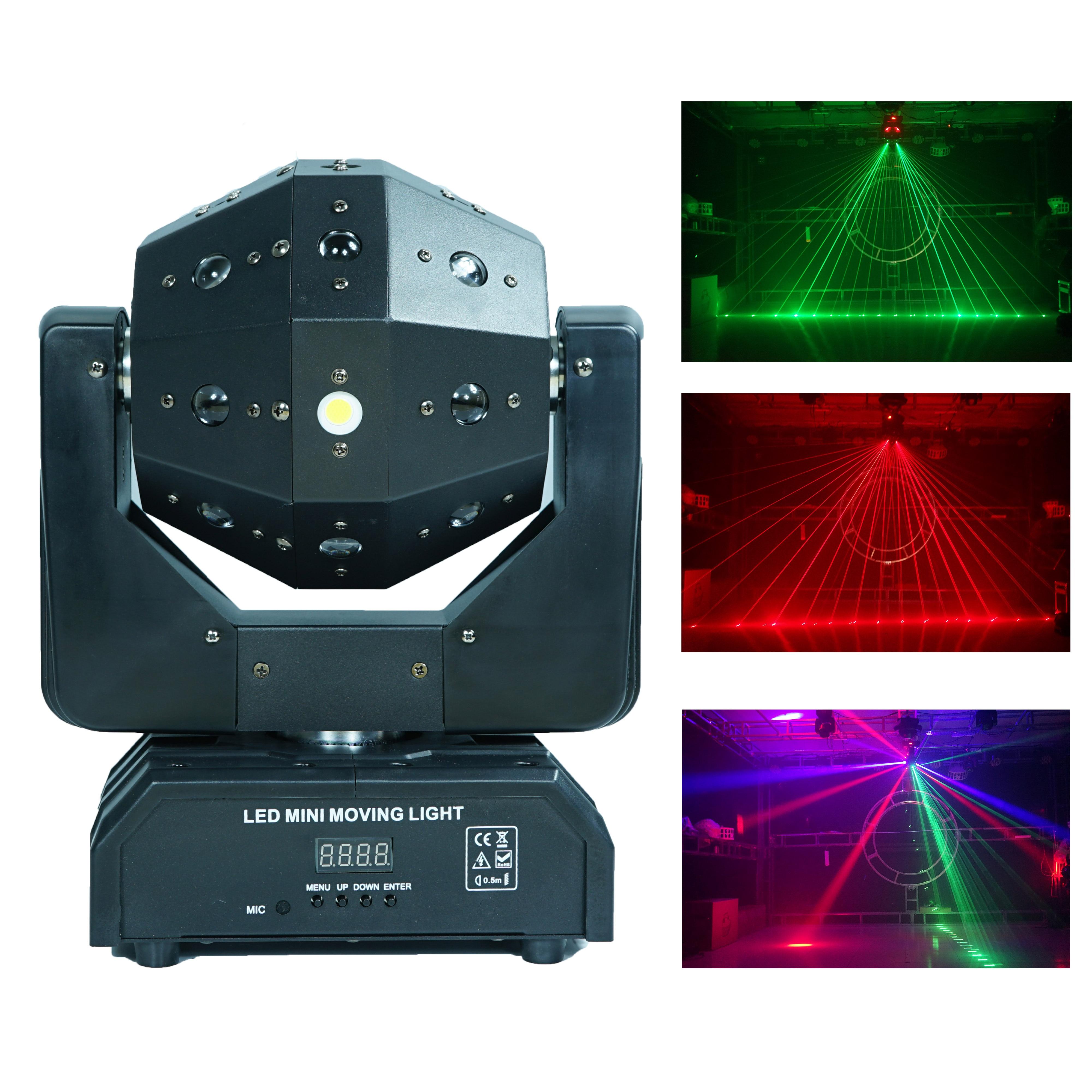 YaYao-كرة رأس متحركة صغيرة LED ، 3 في 1 ستروب ليزر ، رؤوس متحركة DMX دوارة بلا حدود ، LED ديسكو DJ Lig